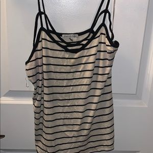 Cross crossed and striped tank top